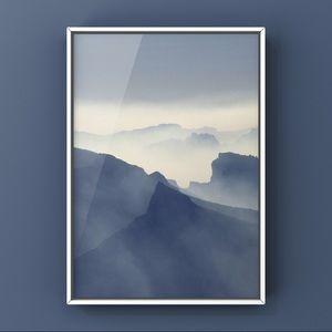 Misty mountains grey sky landscape art print